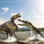 Deinosuchus attacks a hadrosaur