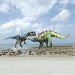 Gigantspinosaurus faces off against a predator