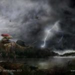 Guanlong Wucaii startled by flood waters