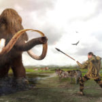 Holocene Man hunting a mammoth trapped in a tar pit